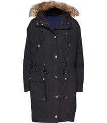 2-1 cotton nylon par parka lange jas jas zwart calvin klein jeans