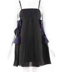 yves saint laurent ruffled silk babydoll dress blue/black sz: s