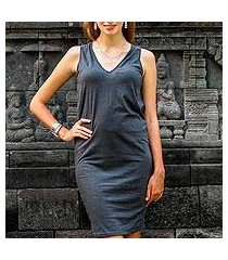 sleeveless cotton dress, 'sincerity in graphite' (indonesia)