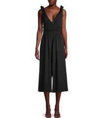 susana monaco women's deep v-neck ruched jumpsuit - black - size l