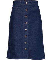 button through skirt knälång kjol blå lee jeans