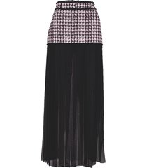 tweed and chiffon pleated maxi skirt