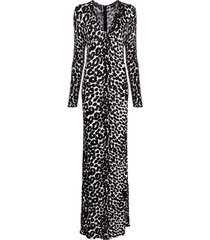 tom ford leopard-print flared jumpsuit - black
