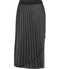 metallic pleated skirt knälång kjol svart karl lagerfeld