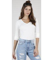blusa feminina canelada manga longa decote v off white