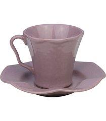 conjunto 6 xícaras cerâmica para café com pires bergama plum 125ml