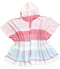 fraas beach ruana/wrap with stripes and hood