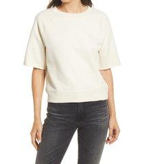 allsaints lila short sleeve sweatshirt, size medium in white at nordstrom