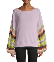 multicolored crochet-sleeve sweater