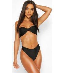 neon knotted bandeau bikini, black