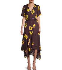 claire floral silk handkerchief dress