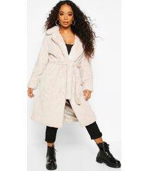 petite faux fur longline belted coat, stone