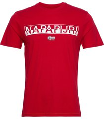 saras solid t-shirts short-sleeved röd napapijri