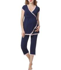 women's kimi and kai cindy nursing/maternity pajamas, size x-small - blue