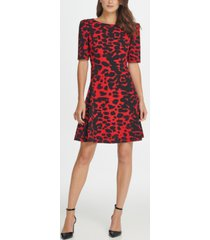 dkny animal print 3/4 sleeve a-line dress