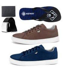kit sapatenis neway sw marrom e azul com 1 chinelo neway, 1 cinto e 1 carteira