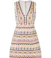 alice+olivia multi-pattern embroidered dress - multicolour