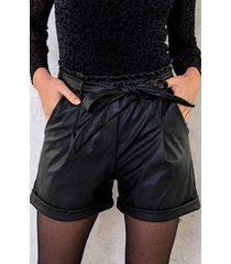 leren shorts met strik
