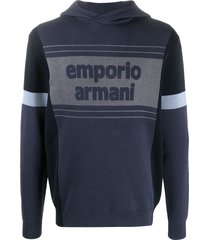 emporio armani two-tone logo hoodie - blue