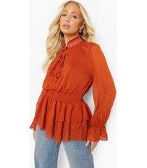 dobby mesh peplum blouse met volle mouwen, terracotta