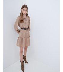 motivi vestito flared con dettaglio in paillettes donna beige