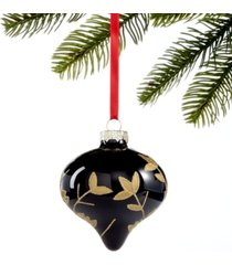 holiday lane black tie, black glass & gold leaf pattern ornament, created for macy's