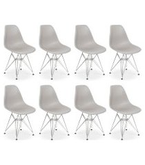 conjunto 08 cadeiras charles eames eiffel base metal design - cinza