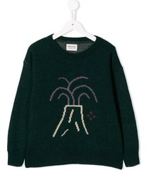 bobo choses volcano embroidered sweater - green