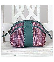cotton and leather accent cosmetic bag, 'nature's delight' (india)