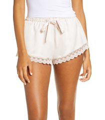 flora nikrooz victoria satin lounge shorts, size x-large in whisper pink at nordstrom