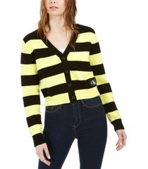 calvin klein jeans striped button-front cotton cardigan