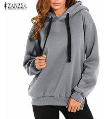 zanzea invierno mujeres sudadera con capucha top suda la camisa de manga larga con capucha del tamaño extra grande -gris