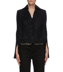 chain trim glitter tweed jacket