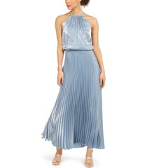 msk petite pleated metallic gown