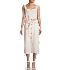 dl1961 women's lexia belted midi dress - oatmeal - size l