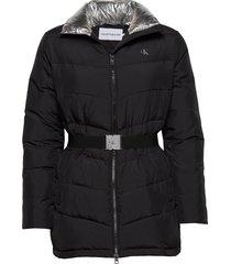 lw belted puffer jacket fodrad jacka svart calvin klein jeans