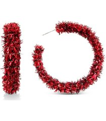 "inc gold-tone medium red tinsel open hoop earrings, 1.88"", created for macy's"
