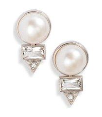 women's anzie cleo baguette topaz & pearl stud earrings