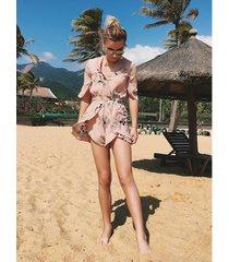 vestido de playa de gasa de manga corta con cuello en pico para mujer - caqui