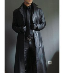 men leather coat winter long  leather coat genuine real leather trench coat-uk19