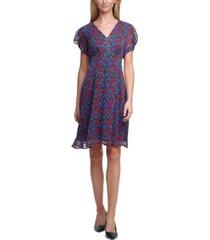 calvin klein printed puff-sleeve dress