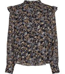 blouse met bloemenprint mai  zwart