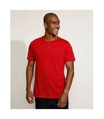 camiseta masculina básica manga curta gola padre vermelha
