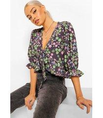 bloemenprint blouse met strik, black
