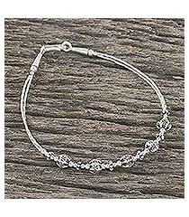 silver beaded bracelet, 'hill tribe lass' (thailand)