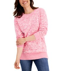 karen scott cotton space-dyed crewneck sweater, created for macy's