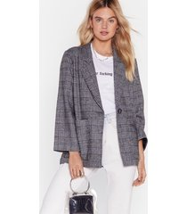 womens one check of a day longline blazer - grey