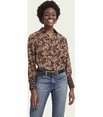 scotch & soda button-down blouse met lange mouwen en printmix