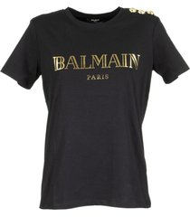 balmain black cotton t-shirt with gold balmain logo print