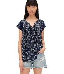 blusa azul-blanco gap navy floral
